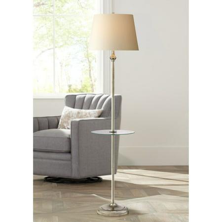 360 Lighting Modern Floor Lamp with Table Glass Tall Satin Nickel White Fabric Hardback Tapered Drum Shade for Living Room (Floor Lamp With Table)