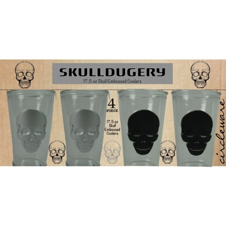 Circleware SkullDugery 17.5 oz Drinking Glasses Set of 4 with Skull (Glasses For Asian Faces)