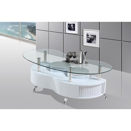 Best Quality Furniture Coffee Table With 2 Stools Included & Storage Space under, Black or White ()