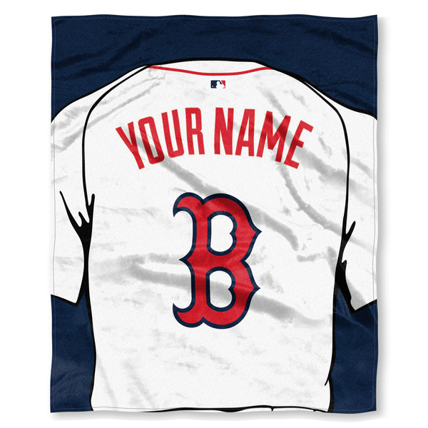 "MLB Boston Red Sox ""Jersey"" Personalized Silk Touch Throw Blanket"
