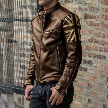 Mens British Flag Leather Jackets Zipper Warm Coats Flag Leather Vest