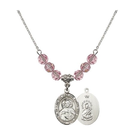18-Inch Rhodium Plated Necklace with 6mm Light Rose Pink October Birth Month Stone Beads and Scapular Charm