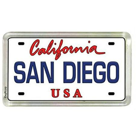 San Diego California License Plate Small Fridge Acrylic Collector's Souvenir Magnet 2 inches X 1.25 inches (Acrylic License Plate)