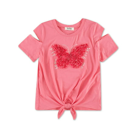 Cold Shoulder 3D Applique Graphic Tee (Big Girls)