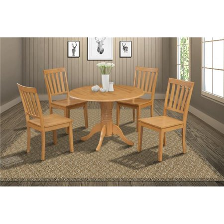 M&D Furniture BUMO5-OAK-W Burlington 5 Piece small kitchen table set-kitchen table and 4 dining chairs in Oak finish ()