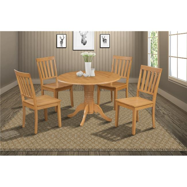 M&D Furniture BUMO5-OAK-W Burlington 5 Piece small kitchen table set-kitchen table and 4 dining chairs in Oak finish