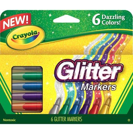 58 8629 Crayola 6 Color Glitter Markers   Bullet Marker Point Style   Fire Flecks  Gold Dust  Violet Glitz  Emerald Zest  Blue Blazes  Silver Sparks Ink   6   Pack