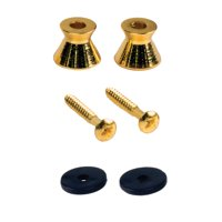 Seismic Audio 2 Pack of Gold Guitar Strap Buttons for electric guitars - Universal fit Gold - SAGA62-2Pack