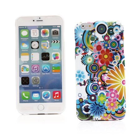 KMO Apple iPhone 6 Plus / 6S Plus Case Cover [Shock Absorbing] [Thin Fit] Soft TPU Gel Skin Protection - Multicoloured Circles With Flowers (Thin Circle)