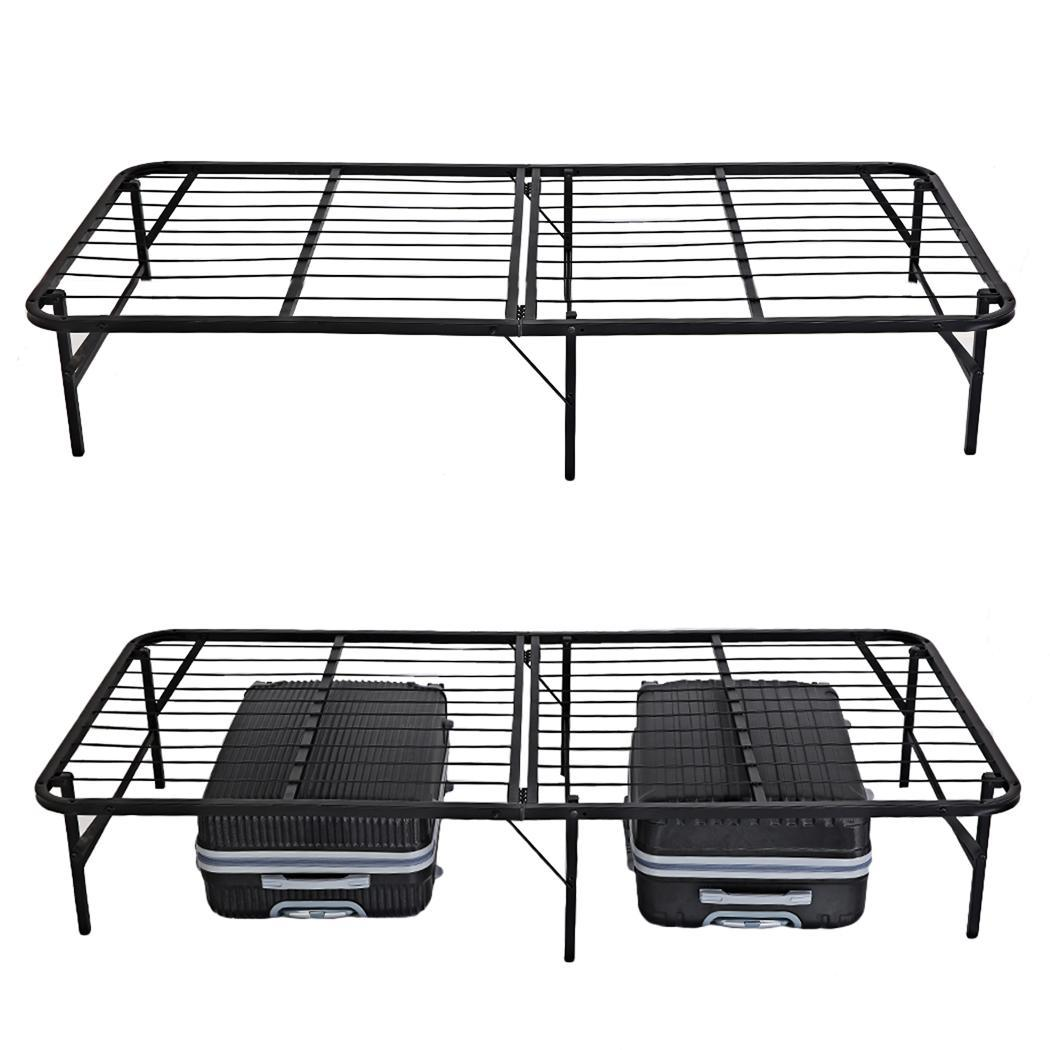 Folding Platform Metal  Bed Frame Base Mattress Foundation Twin Size  Black TEAKT