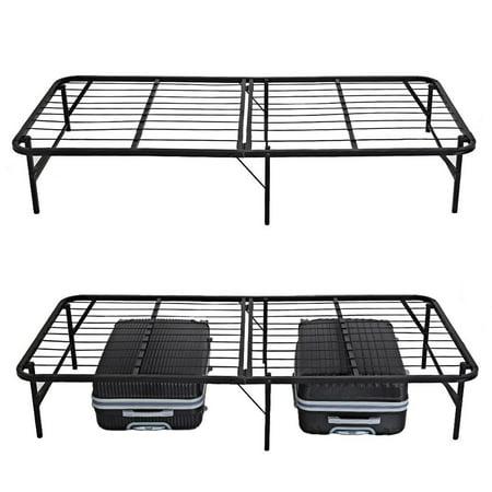 Folding Platform Metal  Bed Frame Base Mattress Foundation Twin Size  Black TEAKT