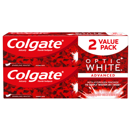 Colgate Optic White Whitening Toothpaste, Sparkling White - 5 ounce (2 pack) ()