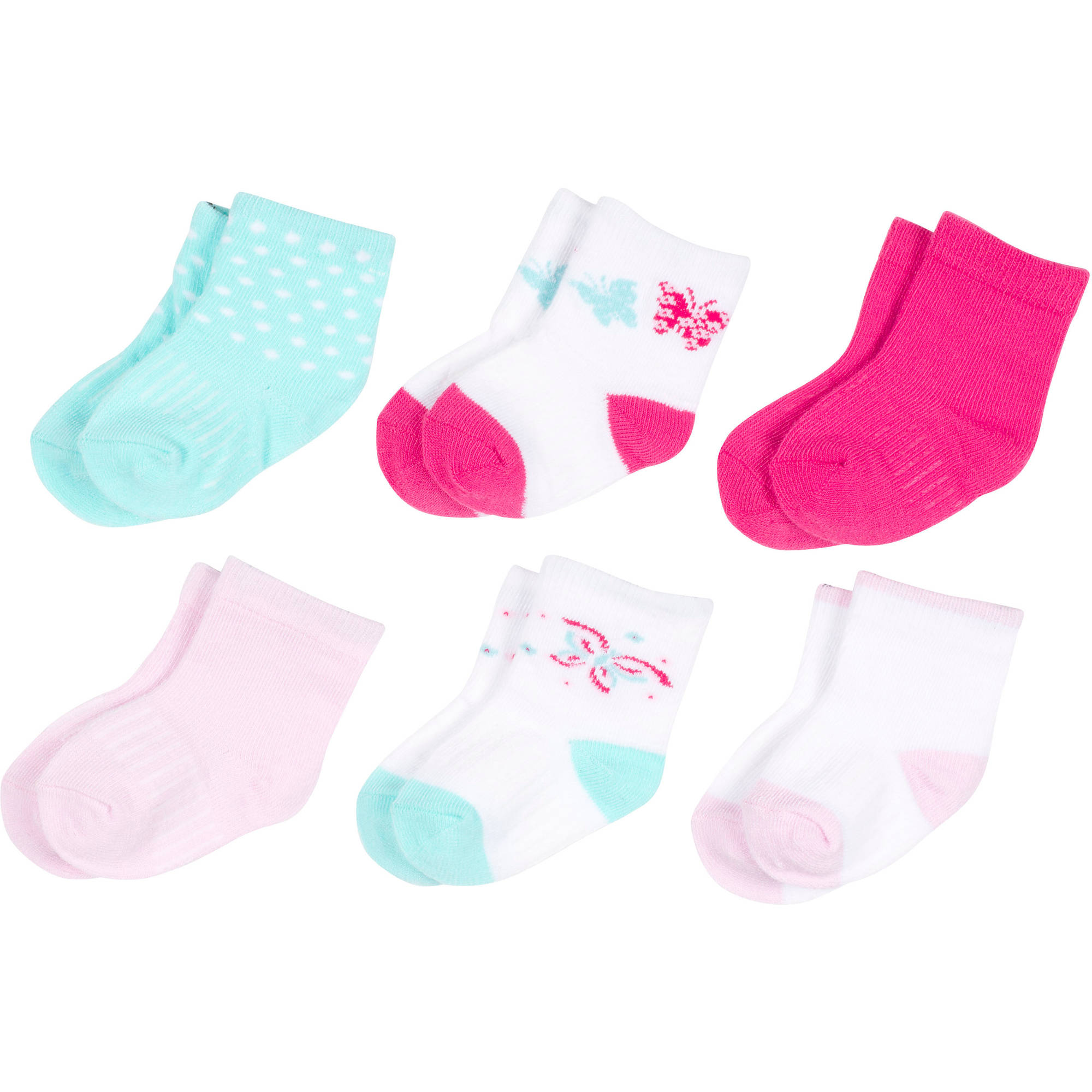 Growing Socks by Peds, Girl Infant, Butterflies, 6 Pairs