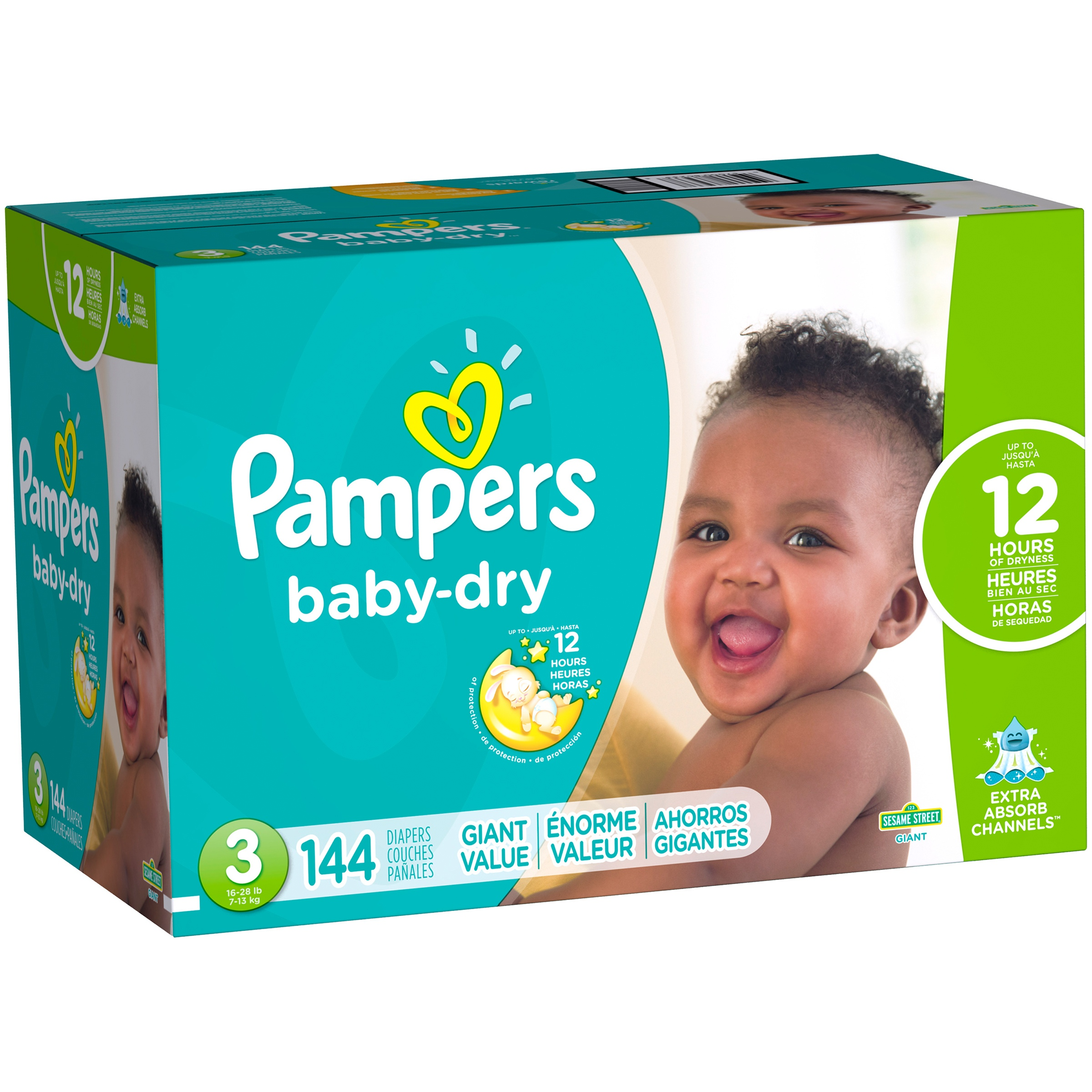 Pampers Baby Dry Diapers, Size 3, 144 Diapers - Walmart.com