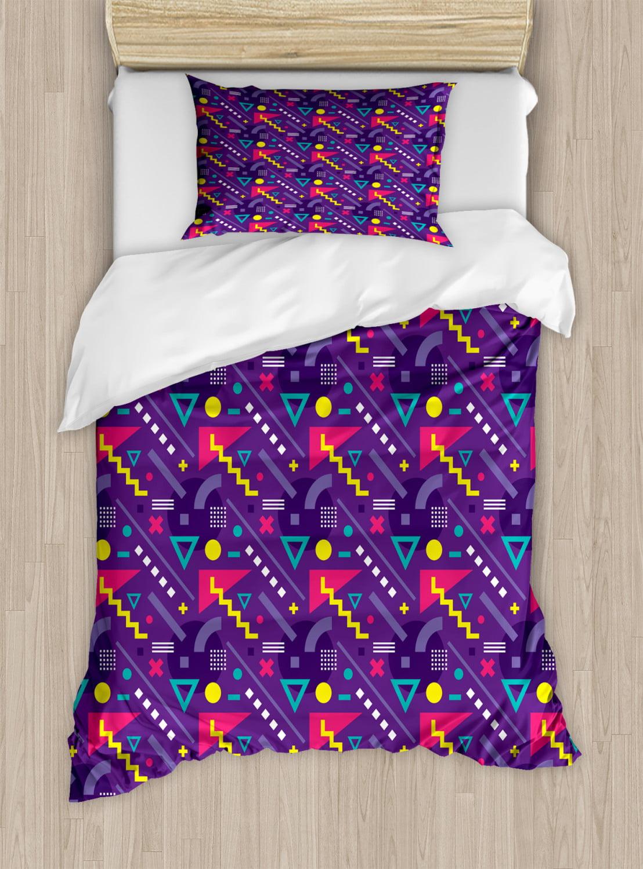 Retro Duvet Cover Set Memphis Art Design Group Vintage Geometric Pop 80 S Zigzags Forms Print Decorative Bedding Set With Pillow Shams Purple And Multicolor By Ambesonne Walmart Com Walmart Com