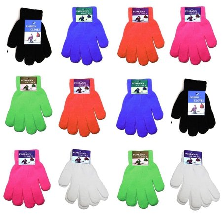 Children Warm Magic Gloves Teens Winter Gloves Boys Girls Knit Gloves(7 to 16 years old) (Girls Red Gloves)