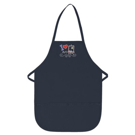 Navy Blue Kids Art Smock with I Love Art Design by My Little Doc XL