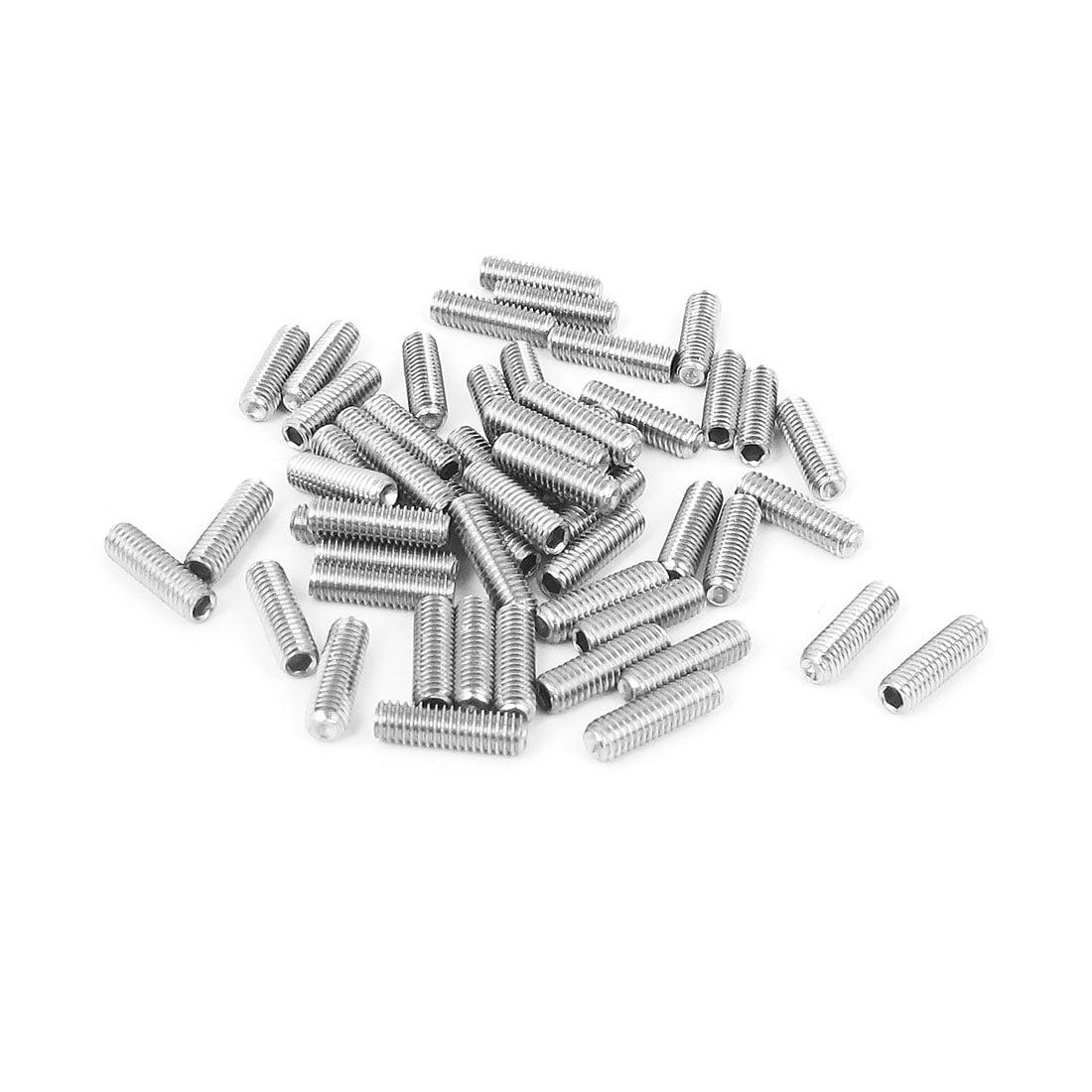 Unique Bargains M3x10mm Stainless Steel Hex Socket Set Cap Point Grub Screws Silver Tone 50pcs