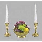 Dollhouse 1/2In Fruit Bowl W/Candlesticks