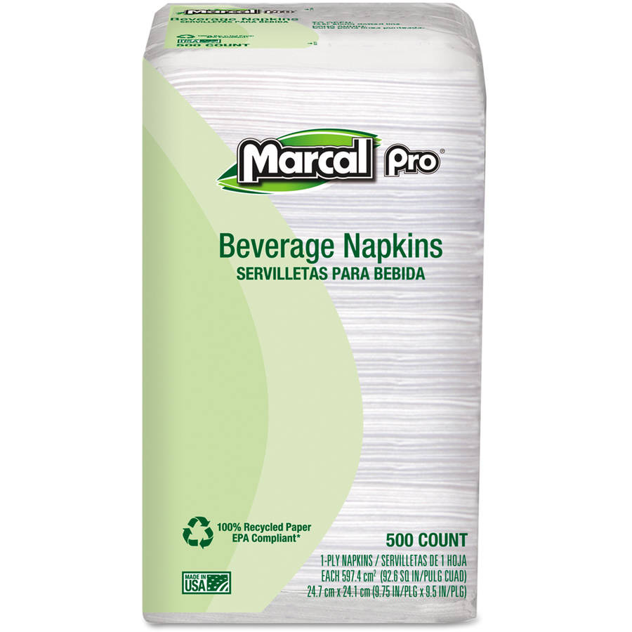 Marcalpro 100 Percent  Premium Recycled Bella One-Ply White Napkins, 4000 Count
