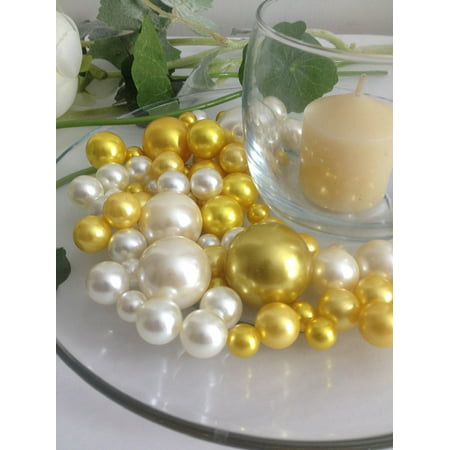 Easy Wedding Decorations (Easy Elegance Wedding Centerpiece and Decoration - White and Yellow Pearl Beads -includes 12 gram packet JellyBeadZ Water bead)