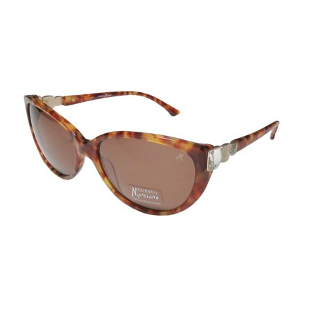 New Guess Marciano Gm653 Womens/Ladies Cat Eye Full-Rim 100% Uva & Uvb Honey Amber Pattern Frame Brown Lenses 58-16-135 Rhinestones Sunglasses/Sun (Guess Sunglasses By Marciano)