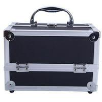 LYUMO Black Aluminum Makeup Train Case Jewelry Box Cosmetic Organizer with Mirror, Box, Jewelry Box