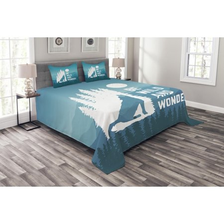 Adventure Bedspread Set, Hand Drawn Be Wild and Wonder Quote Howling Wolf in the Woods under Moon, Decorative Quilted Coverlet Set with Pillow Shams Included, Night Blue White, by Ambesonne ()