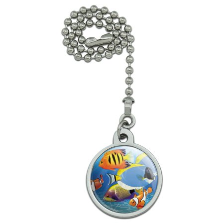 Tropical Coral Reef Fish Clown Ceiling Fan and Light Pull Chain Clown Musical Pull