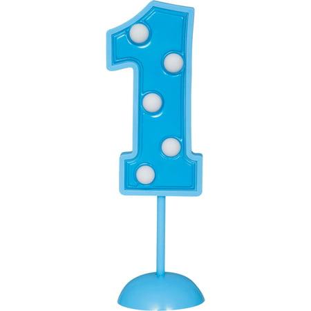 Blue Flashing Number 1 Cake Topper Decoration](Blue Cake Company)