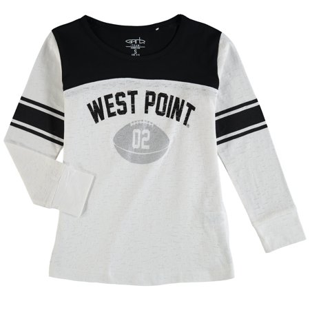 Army Black Knights Girls Toddler Long Sleeve Stripe Football T-Shirt - White/Black - Army Girl