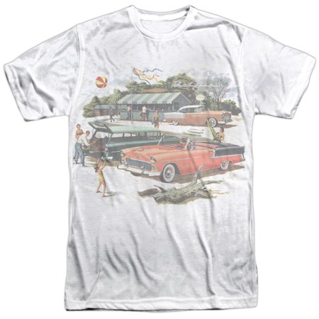 Chevrolet Autos Chevy Faded Retro Image Of Convertible Adult Front Print T Shirt