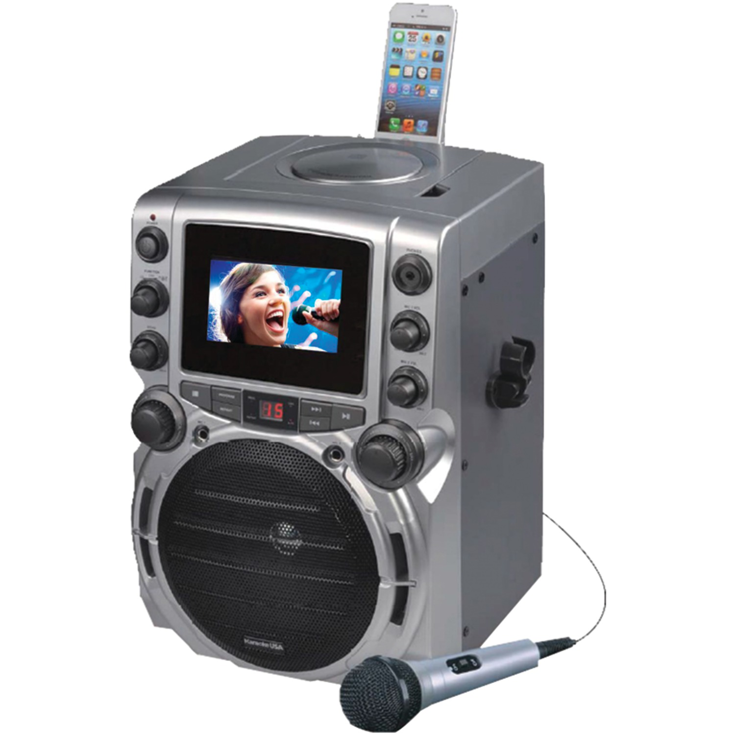 "Karaoke USA GQ743 CDG Bluetooth Karaoke Machine with 4.3"" Color TFT Screen includes 1 microphone"