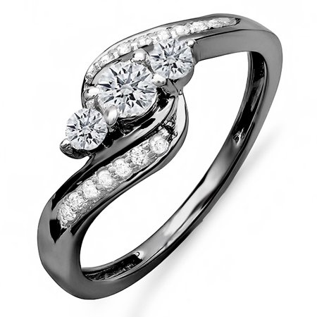 18k 18k Wg Ring - Dazzlingrock Collection 0.50 Carat (ctw) Black Rhodium Plated 18K Diamond Swirl 3 Stone Ring 1/2 CT, White Gold, Size 7