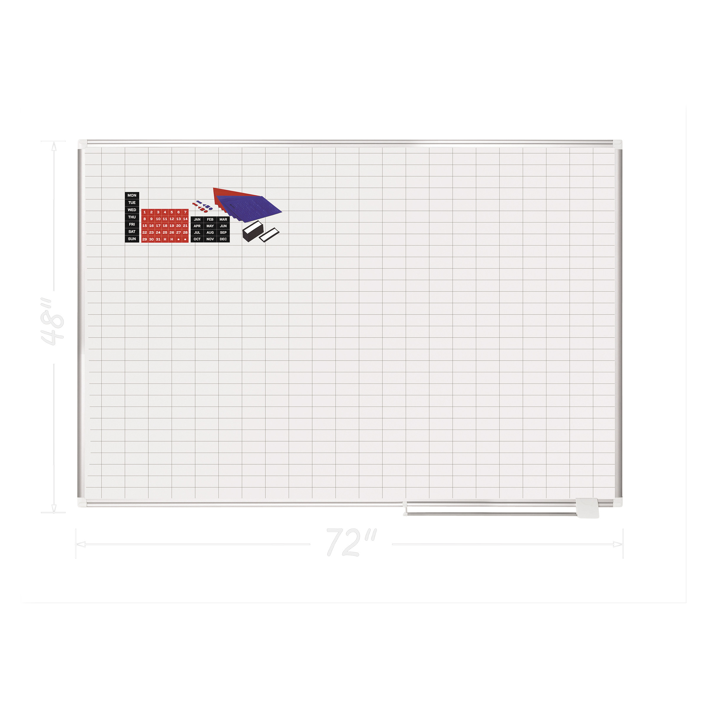 "MasterVision Grid Planning Board w  Accessories, 1x2"" Grid, 72x48, White Silver by BI-SILQUE VISUAL COMMUNICATION PRODUCTS INC"