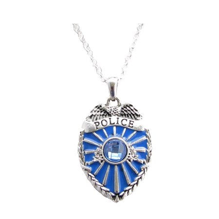 Police Badge Crystal Charm On Silver Plated Fashion Necklace (Police Badge Toy)