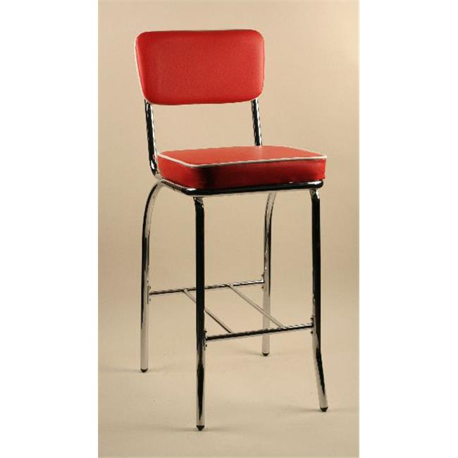 Alston Quality TK1082-24-RED Retro Dining Stool 24 in. H