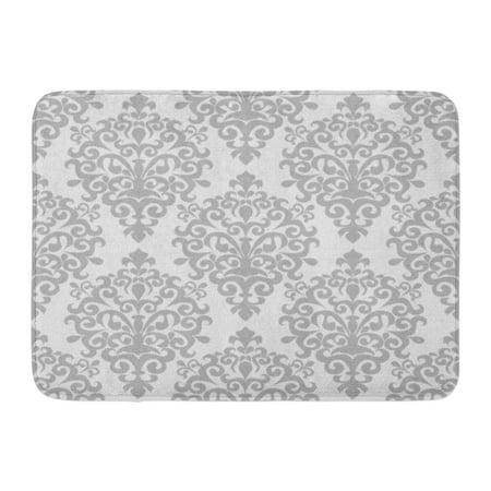 KDAGR Gray Wall Damask Ornamental Raster Silver Pattern Antique Grey Regency Doormat Floor Rug Bath Mat 23.6x15.7 inch (Gray Silver Pattern)