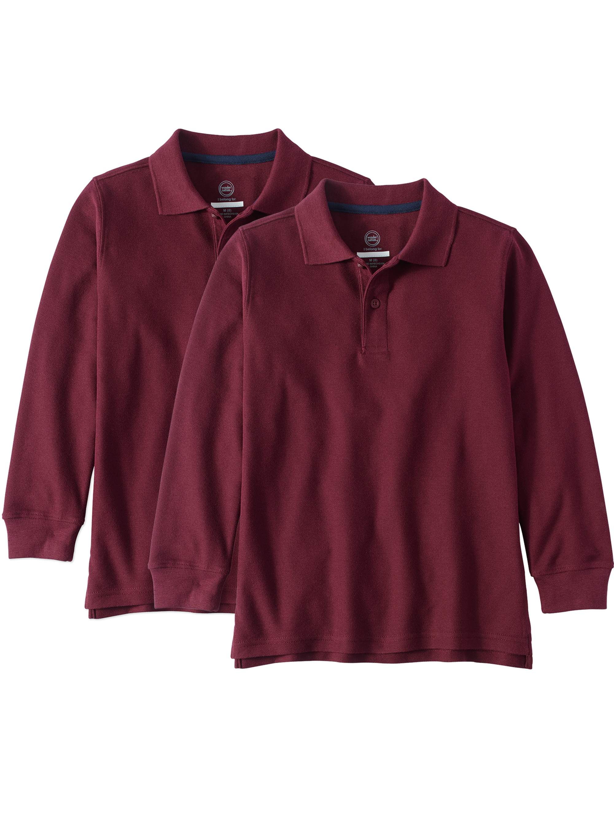 Boys School Uniform Long Sleeve Double Pique Polo, 2-Pack Value Bundle