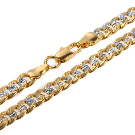 Hermah 6mm Womens Mens Chain Boys Hammered Round Curb Gold Plated Necklace 18-28inch