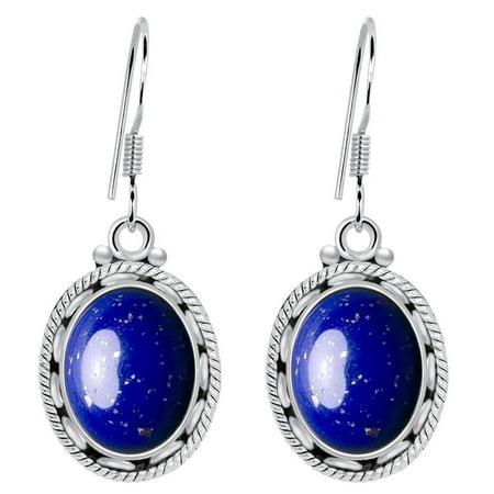 925 Sterling Silver 8 Carat Lapis Lazuli Womens Earrings