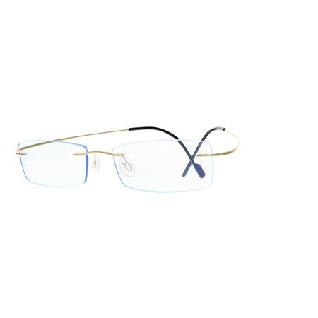 EBE Unisex Titanium Rimless Rectangle Gold Frames Eyeglasses t1040 - Flashing Eyeglasses