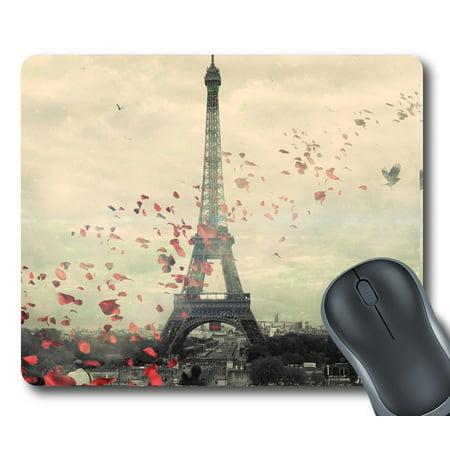GCKG Frech Paris Eiffel Tower Love Flower Mouse Pad Personalized Unique Rectangle Gaming Mousepad 9.84