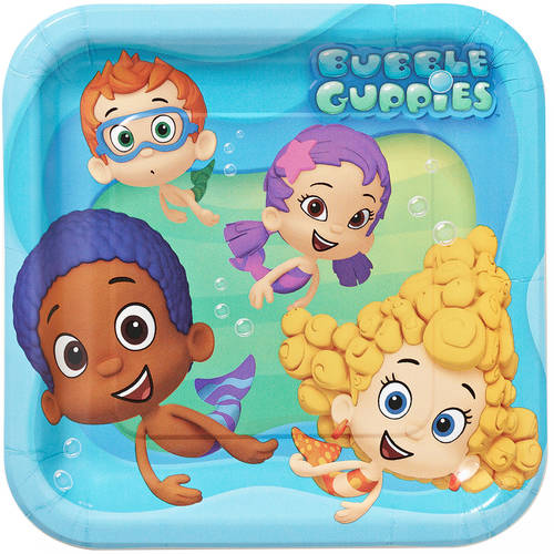 "Bubble Guppies 9"" Square Plates, 8 Count, Party Supplies"