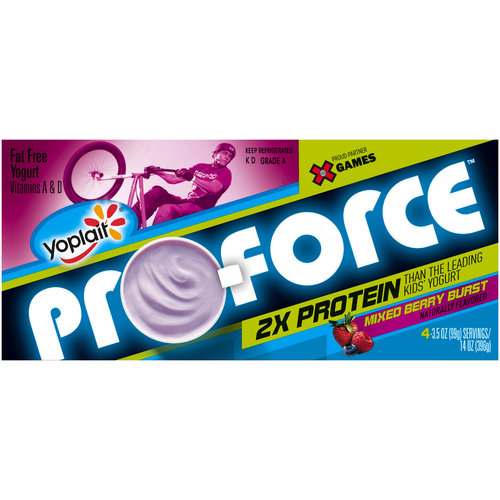 Yoplait Pro-Force Mixed Berry Burst Fat Free Yogurt, 3.5 oz, 4 count