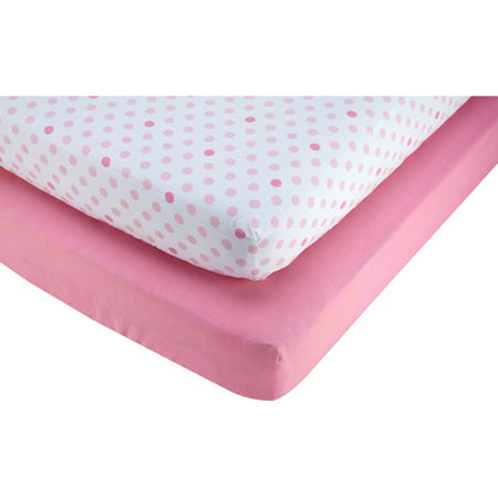 Little Bedding by Nojo Pink and Polka Dot 2-Pack Crib Sheet, -