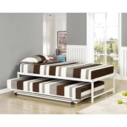 39 twin size white metal day bed frame with pop up high riser trundle