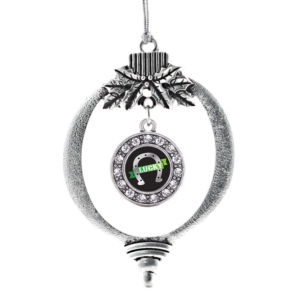 Lucky Horse Shoe Circle Holiday Ornament