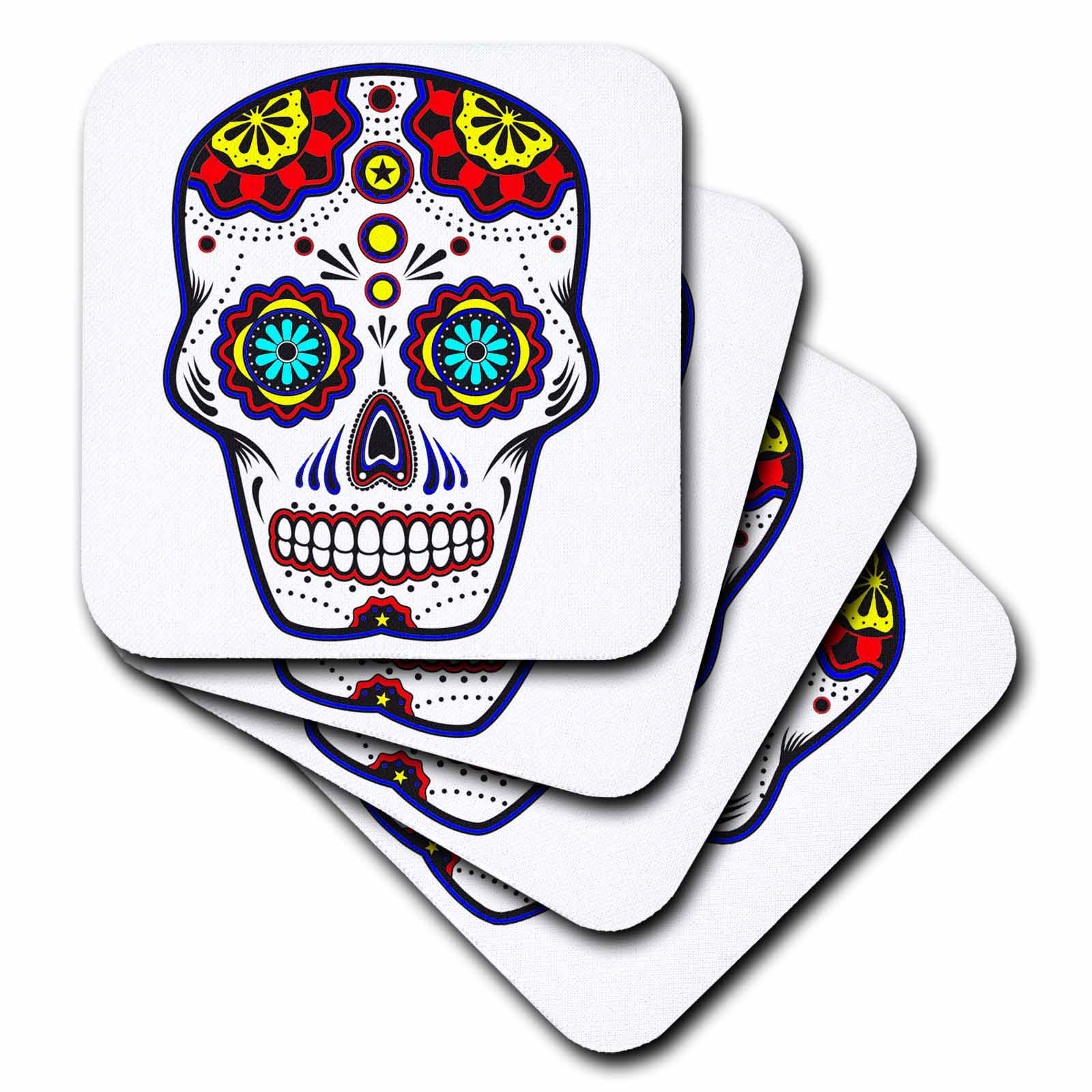 3dRose Sugar skull, Red, blue and yellow, Ceramic Tile Coasters, set of 4 by 3dRose