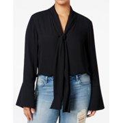 Rachel Rachel Roy NEW Black Womens 3X Plus Tie-Neck Bell-Sleeve Blouse